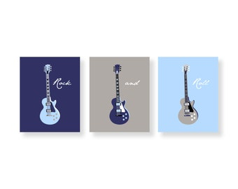 boy Wall Art, nursery decor Guitar Art, Children's Wall  Art in baby blue, black, navy and  gray 3 print set by Yassisplace GABNG - 01
