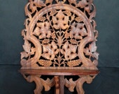 Vintage Carved Wood Wooden Shelf Bookshelf Furniture Indian Mahogany Woodcarving Boho