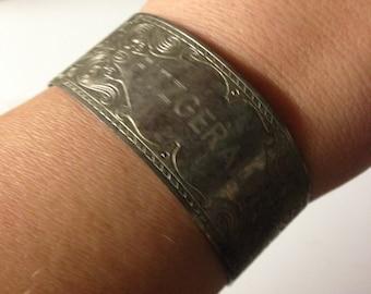 Vintage Silver Engraved Cuff Bracelet  Fitzgerald