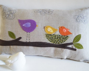 """Mommy Bird with her Little Ones/ Organic Cotton Canvas Pillow Cover/ / 12""""x20/ Made To Order"""