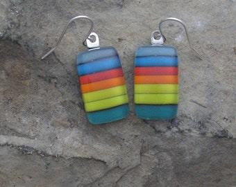 Rainbow Earrings Fused Glass Earrings