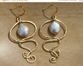 20 off. Swirl Pearl Drop Earrings. Gold or Silver. Coin Teardrop Fresh Water Pearl. Pearl Jewelry.