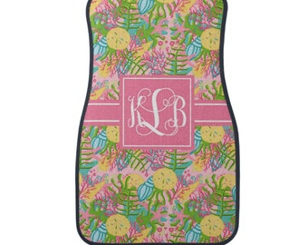 Personalized Car Mats, Monogram Preppy Lilly Inspired Car Mats, Personalized Floor Mats, Choice of Front or Rear Car mats