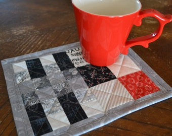 Valentine Mug Rug, Love, Red Black Gray Mini Placemat, Patchwork Mug Mat