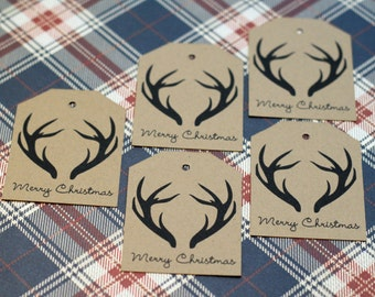 Rustic Merry Christmas Antler Gift Tags / Labels - Set of 10