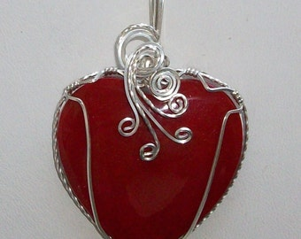 Red  Sponge Coral Heart Pendant In Silver Filled Wire