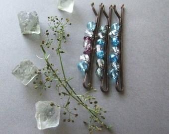Winter Bobby Pins Set, Blue Hair Pins, Frozen Blue Bobby Pins, For Her, Blue Bobby Pins