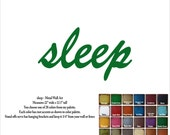 """sleep word metal wall art sign - 22"""" wide - rust patina steel - choose your color - metal wall art - sleep bedroom sign"""