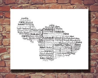Maui Map, Maui Print, Hawaii, Hawaiian Islands, Destination Wedding, Country, Personalized, Custom, Gift, Cities, City, Housewarming Gift