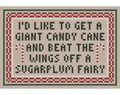"Original ""A GIANT CANDY CANE"" Sassy Sampling Cross Stitch Chart"