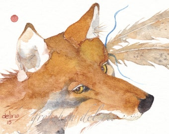 StarShine COYOTE watercolor ACEO PRINT - Native American spirit totem animal feathers - Free Shipping