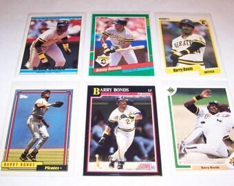 Vintage Lot of 6 Barry Bonds Baseball Cards