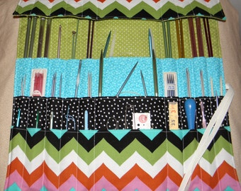 Knit/Crochet Needle Organizer, Knitting Needle Roll, Knit, Knitting Needle Case,Crochet Needle Case, 30 Pockets, Chevron Print