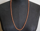 Antique Victorian Natural Red Coral Bead Necklace Sterling Silver FREE Domestic Shipping