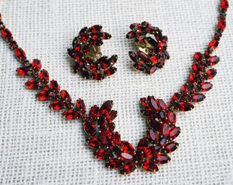 Vintage Rare Christian Dior 1950's Ruby Red Swarovski Crystal Rhinestone Laurel Necklace and Earrings Set by Kramer FREE Shipping