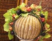 floral berry  newborn bonnet for photo props  Handmade RTS OOAK