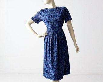 SALE 1950s dress, vintage floral swing dress, blue Fashion Frocks dress