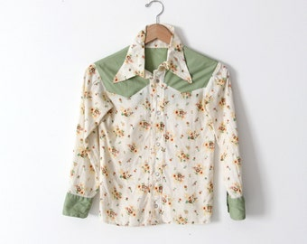 vintage 60s western shirt, floral snap up shirt xs