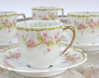 Limoges Demitasse Set - SET of 5, Bawo & Dotter Demitasse, Pink Floral Demitasse Set, Antique Demitasse, French Cup and Saucers, c1800s
