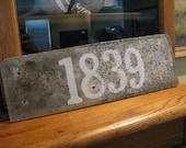 RESERVE Shane  Arrow added to Custom House Address OOAK Hand Painted on Antique Slate Tile