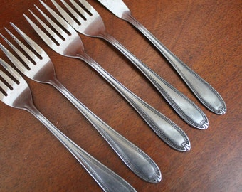 BEADED round stip edge flatware from ROGERS Co.   Stainless Shabby Chic BiN 7