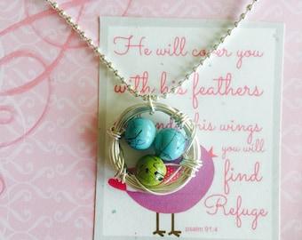 Inspirational wire birds nest pendant