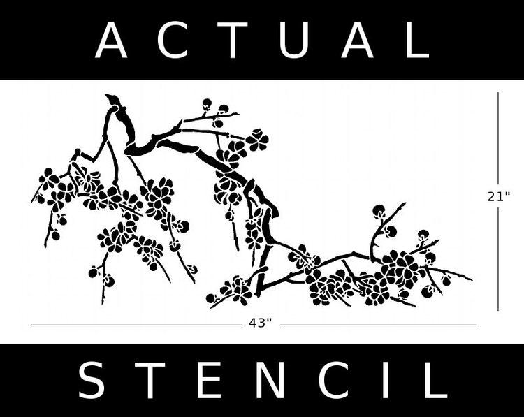 Cherry Blossom Flower Stencil: STENCIL Japanese Cherry Blossoms Large By OliveLeafStencils