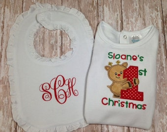 Personalized Girls Onesie/Bodysuit and Bib Set with First Christmas Reindeer Applique Design