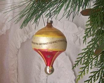 Vintage Christmas Ornament Hot Air Balloon Shape Mica Glitter Christmas Tree Ornament Holiday Decor Vintage 1950s