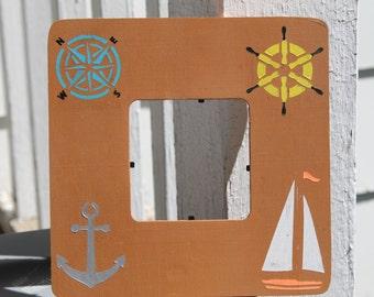 Nautical themed photo frame, handpainted hanging