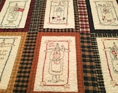 PRIMITIVE ANGELS QUILT - Hand Embroidered Angels,Patchwork,Display Quilt,ReadyTo Ship