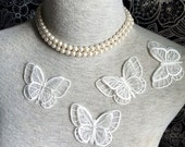 Vintage Applique - 4 pcs Ivory Butterfly Applique Trim (A291)