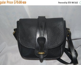 Summer Blow Out Vintage  Dooney & Bourke Bag  Black Leather Shoulder Bag USA Made Cross Body