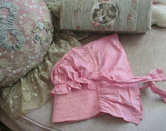 Antique Victorian PINK Prairie Bonnet Hat With Neck Fall Ruffled Quilted Visor A15
