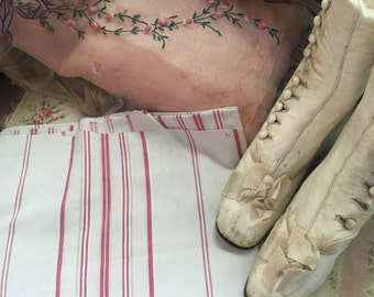 C1900 Antique French Fabric pink Ivory Stripe Ticking A90