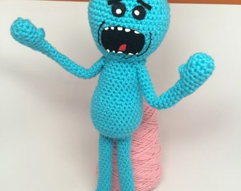 Rick and Morty Inspired Doll / Crochet Mr. Meeseeks Plush Toy / Rick and Morty Plush / Amigurumi Meeseeks Toy / Poseable Meeseeks Doll