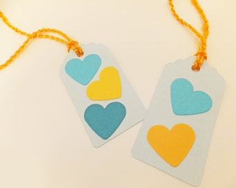 Hang Tags, Gift wrapping supplies, Gift tags, Heart gift tags, Gift labels,  Eco-friendly gift tags, Aqua, Pastel Blue, Love