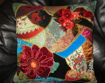 Embroidered crazy quilt Burgundy Flowers pillow cover. Victorian style  18x18 inches cushion cover