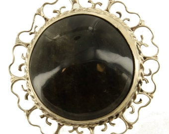 Vintage Sterling Filigree Gold Sheen Obsidian Mexico Pendant Pin 1.5""