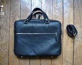 "black leather bag, briefcase ""BOB"""
