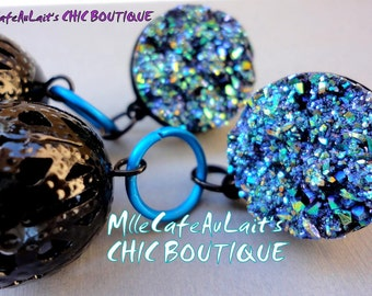 Blue Rainbow Druzy, Aqua Blue, Black Lace Bead Chandelier Earrings- MEDIANOCHE