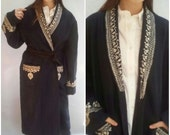 70s vintage ROBE Coat WOOL Duster Coat Indian Boho Hippie Embroidery Sakshi OSFM Pockets