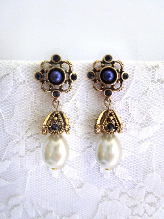 Boho Blue Sapphire earrings Pearl drop earrings Dangle