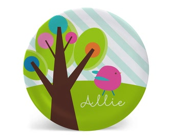 Personalized Melamine Plate-Whimsy Bird Two