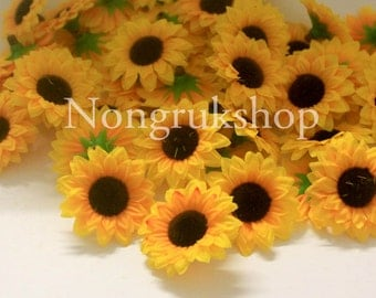 100 pcs. Yellow Mini Sunflower Artificial Flower Heads for Wedding , Bridal Hair Clip, Bag, Shue Decorate