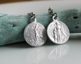 Saint Michael Earrings Vintage French Dangle Drop Tiny Archangel St Medals