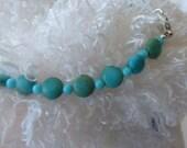 Matte aqua flat bead necklace