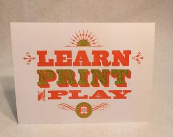 Learn Print Play Hand Printed Letterpress Print