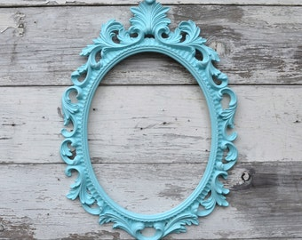 Aqua Turquoise Oval Picture Frame Large Ornate Baroque Fancy Portrait Wedding Nursery