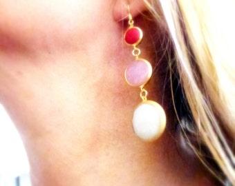 long dangle jade gold earrings- red/pink and white gem earrings- round bessel earrings- bohemian style- love gift for women- white jade/gold